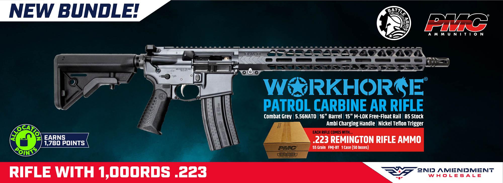 "Battle Arms Development Forged WORKHORSE Patrol Carbine AR Rifle - Combat Grey | 5.56NATO | 16"" Barrel | 15"" M-LOK Rail | Ambi Charging Handle | B5 Stock | Nickel Teflon Trigger & PMC Bronze .223 Rem Rifle Ammo - 55 Grain | FMJ-BT | 1 Case (50 boxes)"
