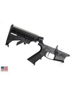 KE Arms KE-9 Billet Complete Glock 9mm Lower - Black | M4 Buttstock | SLT Trigger | Ambi Selector