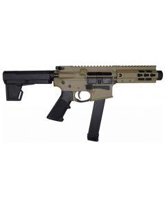 "Brigade MFG BM-9 Forged Aluminum AR Pistol - FDE | 9mm | 5.5"" Barrel | 5"" U-LOC Rail | Faux Can | KAK Blade"