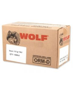 Wolf Steel Case 9mm Luger Handgun Ammo- 115 Grain | FMJ | 1000rd Case