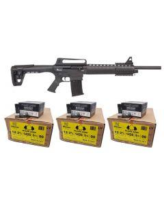 "Armelegant ANG-13 Semi Automatic Shotgun - Black | 12ga | 20"" Barrel Bundled w/ THREE Black Aces Tactical 12ga Buckshot 2.75 inch Shotgun Shells - 9 pellets | 00 Buck | 1425 fps | Zinc coated steel casing | 1 Case (10 boxes/250rds)"