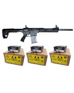 "Armelegant ANG-4 Semi Automatic Shotgun - Black | 12ga | 20"" Barrel Bundled w/ THREE Black Aces Tactical 12ga Buckshot 2.75 inch Shotgun Shells - 9 pellets | 00 Buck | 1425 fps | Zinc coated steel casing | 1 Case (10 boxes/250rds)"