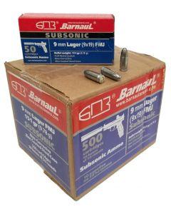 Barnaul 9mm SubSonic Pistol Ammo - 151 Grain | FMJ | Steel Casing | 500rd Case