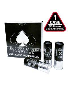 Black Aces Tactical 12ga Buckshot 2.75 inch Shotgun Shells - 9 pellets | 00 Buck | 1425 fps | Zinc coated steel casing | 1 Case (10 boxes/250rds) - Ships in early September