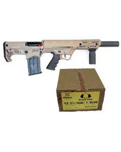 "Black Aces Pro Series Bullpup Semi-Auto Shotgun - FDE | 12ga | 18.5"" Barrel | Barrel Shroud Bundled w/ Black Aces Tactical 12ga Slugs 2.75 inch Shotgun Shells - SLUG | 1640 fps | Zinc coated steel casing | 1 Case (20 boxes/200rds)"