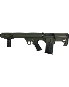 """Black Aces Pro Series Left Hand Bullpup Pump Shotgun - Green   12ga   18.5"""" Barrel   Barrel Shroud"""