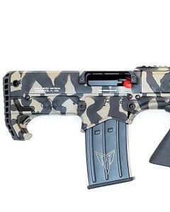 """Black Aces Pro Series Bullpup Pump Shotgun - Tiger Stripe   12ga   18.5"""" Barrel   Barrel Shroud"""