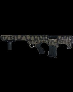 """Black Aces Pro Series Left Hand Bullpup Pump Shotgun - Tiger Stripe   12ga   18.5"""" Barrel   Barrel Shroud"""