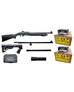 "Black Aces Tactical Pro Series X Semi-Auto Shotgun - Black | 12 Gauge | 18.5"" & 24"" Barrel |Includes Chokes, Standard & Tac. Stock w/ mag ext. Bundled w/ TWO Black Aces Tactical 12ga Buckshot 2.75 inch Shotgun Shells - 9 pellets | 00 Buck | 1 Case (250rd)"