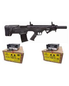 "Armelegant BLP-M12 Semi Automatic Shotgun - Black | 12ga | 18.5"" Barrel Bundled w/ TWO Black Aces Tactical 12ga Buckshot 2.75 inch Shotgun Shells - 9 pellets | 00 Buck | 1425 fps | Zinc coated steel casing | 1 Case (10 boxes/250rds)"