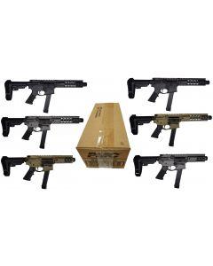 "Brigade MFG BM-9 Bundle w/ One Case of PMC 9mm Ammo - 115 Grain | FMJ - Bundle Includes: 2 - BM-9 Black 9"" Barrel | 1 - BM-9 Grey 9"" Barrel | 1 - BM-9 FDE 9"" Barrel | 1 - BM-9 Grey 5.5"" Barrel | 1 - BM-9 FDE 5.5"" Barrel"