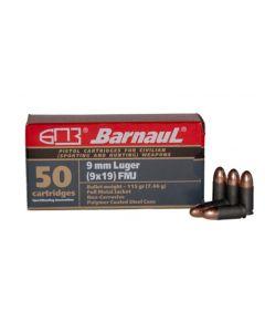 Barnaul 9mm Pistol Ammo - 115 Grain | FMJ | Steel Casing | 500rd Case