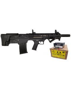 "Armsco BULLIE-12 Bullpup Semi-Auto Shotgun - Black | 12ga | 20"" Barrel | Synthetic Furniture Bundled w/ Black Aces Tactical 12ga Buckshot 2.75 inch Shotgun Shells - 9 pellets | 00 Buck | 1425 fps | Zinc coated steel casing | 1 Case (10 boxes/250rds)"