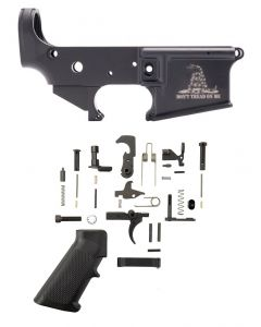 Anderson AM-15 Forged Stripped AR15 Lower Receiver - Black | Don't Tread On Me Logo | Retail Packaging Bundled w/ Tactical Superiority AR-15 Lower Parts Kit
