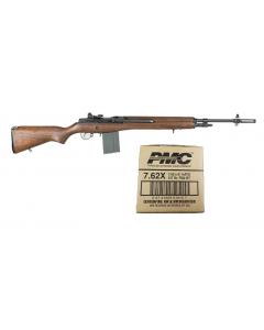 "Bula Defense M14 Rifle - Walnut | .308 Win | 22"" Barrel Bundled w/ PMC X-TAC 7.62NATO Rifle Ammo - 147 Grain | FMJ-BT | 1 Case (25 Boxes)"
