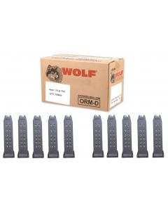 Wolf Steel Case 9mm Luger Handgun Ammo- 115 Grain | FMJ | 1000rd Case Bundled w/ TEN RWB Glock 9mm Magazine - 15rd | Gen 2 | Fits Glock 19, 26