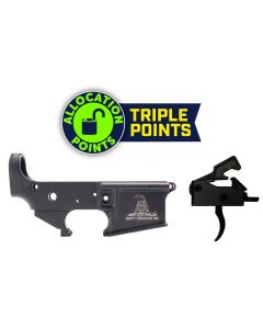 Anderson AM-15 Forged Stripped AR15 Lower Receiver - Black | Don't Tread On Me Logo | Retail Packaging Bundled w/ Tactical Superiority Curved Drop-In Trigger