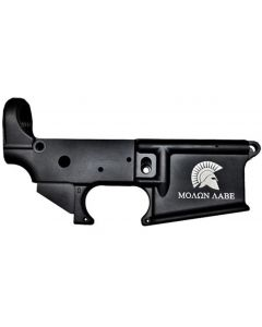 Anderson AM-15 Forged Stripped AR15 Lower Receiver - Black | Spartan Molon Labe Logo | Retail Packaging