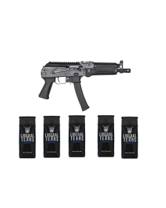 "Kalashnikov USA KP-9 AK Pistol - Black   9mm   9.25"" Barrel & 5 12oz Bags of Liberal Tears Coffee (2 Ground & 3 Whole Bean)"