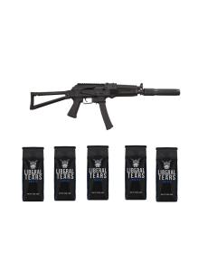 "Kalashnikov USA KR-9 AK Rifle - Black   9mm   16.25"" Barrel w/ Faux Supressor Barrel Shroud   Triangle Folding Stock & 5 12oz Bags of Liberal Tears Coffee (2 Ground & 3 Whole Bean)"