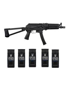 "Kalashnikov USA KP-9 AK Pistol - Black | 9mm | 9.25"" Barrel | TF1913 Triangle Side-Folding Brace & 5 12oz Bags of Liberal Tears Coffee (2 Ground & 3 Whole Bean)"