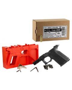 Polymer 80 PF940C 80% Compact Pistol Frame Kit V1- Black   Compatible with Glock 19/23 Gen 3 Bundled w/ Sellier & Bellot 9mm Luger Handgun Ammo - 124 Grain   FMJ   250rd Box