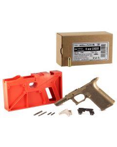 Polymer 80 PF940 80% Full Size Pistol Frame Kit V2 - FDE   Compatible with Glock 17/22 Bundled w/ Sellier & Bellot 9mm Luger Handgun Ammo - 124 Grain   FMJ   250rd Box