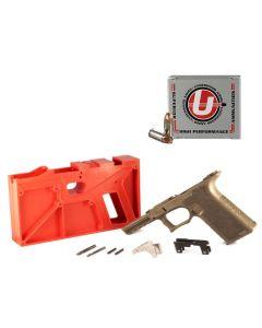 Polymer 80 PF940 80% Full Size Pistol Frame Kit V2 - FDE   Compatible with Glock 17/22 Bundled w/ FIVE Underwood Ammo 9mm Luger Handgun Ammo - 90 Grain   Xtreme Defender   20rd Box