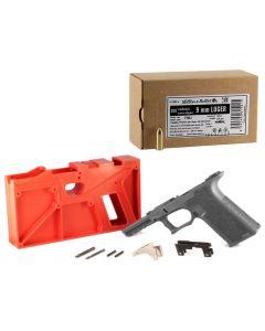 Polymer 80 PF940 80% Full Size Pistol Frame Kit V2 - Gray | Compatible with Glock 17/22 Bundled w/ Sellier & Bellot 9mm Luger Handgun Ammo - 124 Grain | FMJ | 250rd Box