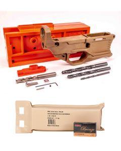 Polymer 80 RL556 Phoenix V3 80% Polymer AR Lower - FDE Bundled w/ PMC Bronze .223 Remington Rifle Ammo - 55 Grain | FMJ-BT | 200rd Battle Pack