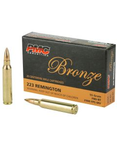 PMC Bronze .223 Remington Rifle Ammo - 55 Grain | FMJ-BT | 20rd Box