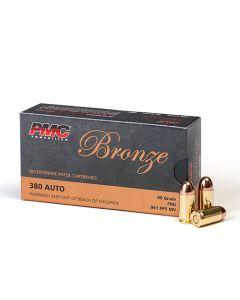 PMC Bronze .380 ACP Handgun Ammo - 90 Grain | FMJ | 50rd Box