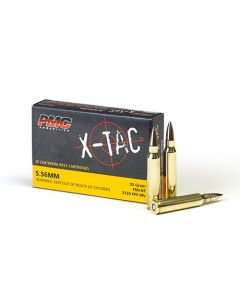 PMC X-TAC 5.56NATO Rifle Ammo - 55 Grain | FMJ-BT | 20rd Box
