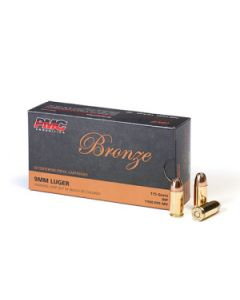 PMC Bronze 9mm Luger Handgun Ammo - 115 Grain | JHP | 50rd Box