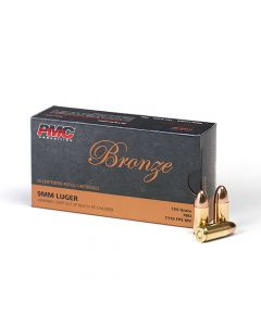PMC Bronze 9mm Luger Handgun Ammo - 124 Grain | FMJ | 50rd Box