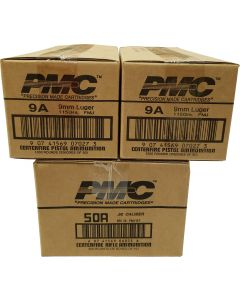 PMC Ammo .50BMG & 9mm FMJ Restock Bundle - 2,200 rounds | Includes 1 case of 50A & 2 cases of 9mm FMJ (9A)