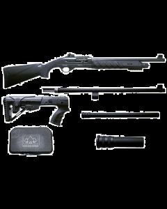 "Black Aces Tactical Pro Series X Semi-Auto Shotgun - Black | 12ga | 18.5"" & 24"" Barrel | Includes Chokes, Hardcase, Standard & 6-Position Tactical Stock and +2 & +6 mag extensions"
