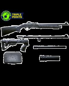 "Black Aces Tactical Pro Series X Semi-Auto Shotgun - Black | 12 Gauge | 18.5"" & 24"" Barrel | Includes Chokes, Hardcase, Standard & 6-Position Tactical Stock and +2 & +6 mag extensions"