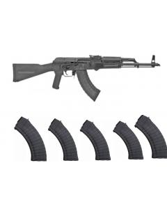 """Riley Defense RAK47 AK-47 Rifle - Black   7.62x39   16"""" Barrel   Polymer Furniture Bundles w/ 5 Pioneer Arms  30rd AK-47 7.62x39 Mags"""