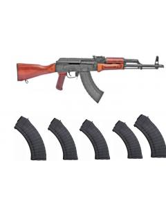 "Riley Defense RAK47 AK-47 Rifle - Wood   7.62x39   16"" Barrel   Laminate Stock & Handguard Bundled w/ 5 Pioneer Arms 30rd AK-47 7.62x39 Mags"