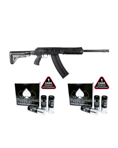 Kalashnikov USA KS-12T Tactical Semi-Auto 12ga Shotgun - Black | 10rd mag bundled w/ 2 Black Aces Tactical 12ga Buckshot 2.75 inch Shotgun Shells - 9 pellets | 00 Buck | 1425 fps | Zinc coated steel casing | 1 Case (10 boxes/250rds)