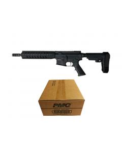 "R Guns TRR15 Forged AR15 Pistol - Black   5.56NATO   10.75"" Barrel   10"" Quad Rail   YHM Phantom Flash Suppressor   SBA3 Arm Brace Bundled w/ PMC Bronze .223 Remington Rifle Ammo - 55 Grain   FMJ-BT   1 Case (50 boxes)"