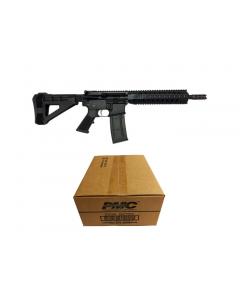"R Guns TRR15 Forged AR15 Pistol - Black   5.56NATO   10.75"" Barrel   10"" Quad Rail   YHM Phantom Flash Suppressor   SBM4 Arm Brace Bundled w/ PMC Bronze .223 Remington Rifle Ammo - 55 Grain   FMJ-BT   1 Case (50 boxes)"