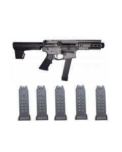 "Brigade MFG BM-9 Forged Aluminum AR Pistol - Grey | 9mm | 5.5"" Barrel | 5"" U-LOC Rail | Faux Can | KAK Blade & 5 RWB Glock 9mm Magazine - 15rd | Gen 2 | Fits Glock 19, 26"