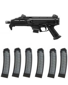 "CZ Scorpion EVO 3 S1 Pistol - Black | 9mm | 7.75"" Barrel | 10rd Bundled w/ 6 Manticore Arms PGS Hybrid Scorpion EVO Magazine - Smoke Tint | 32rd"
