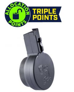 F5 MFG CZ Scorpion 9mm 50 Round Billet Aluminum Drum Magazine - Armor Black | Engraved w/ Scorpion