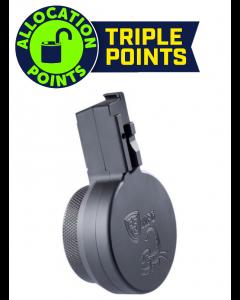 F5 MFG CZ Scorpion 9mm 50 Round Billet Aluminum Drum Magazine - Armor Black | Engraved with Scorpion