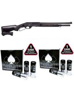 "Black Aces Tactical Pro Series L Lever Action Shotgun - Black | 12ga | 18.5"" Barrel | Black Furniture & 2 cases of Black Aces Tactical 12ga Buckshot 2.75 inch Shotgun Shells - 9 pellets | 00 Buck | 1425 fps | Zinc coated steel casing"