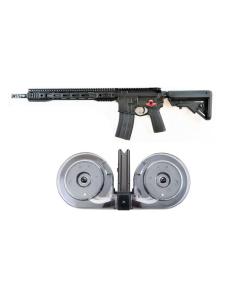 "Franklin Armory M4-HTF R3 XTD AR Rifle - Black | 5.56NATO | 16"" Barrel | AURA™ XTD Compensator | Installed BSFIII Trigger & 1 RWB AR-15 .223/5.56 Dual Drum Magazine - Black | 100rd | Gen 2 | Reinforced Feed Lips"