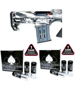 "Black Aces Pro Series Bullpup Pump Shotgun - Distressed White | 12ga | 18.5"" Barrel | Barrel Shroud & 2 Cases of Black Aces Tactical 12ga Buckshot 2.75 inch Shotgun Shells - 9 pellets | 00 Buck | 1425 fps | Zinc coated steel casing"